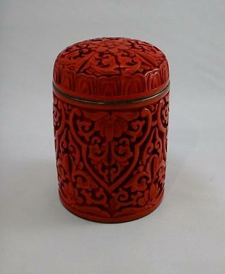 Antique/Vintage Chinese Cinnabar Tall Round Box Red Carved Lacquer China