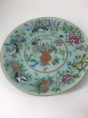 Chinese Famille Rose Celadon glaze plate ( 3 )