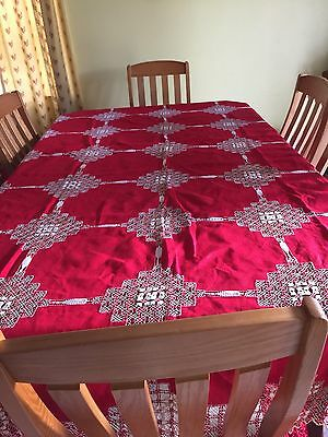 Amazing Antique Red handmade Tablecloth