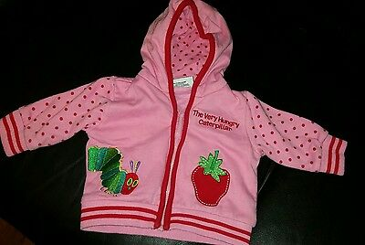 Girls The Hungry Caterpillar Pink Hoody 0-3 months Eric carle jumper zip up top