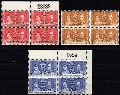 N. RHODESIA - 1937 Coronation set in blocks x 4 SG 22/24 MNH/MH (Br881)