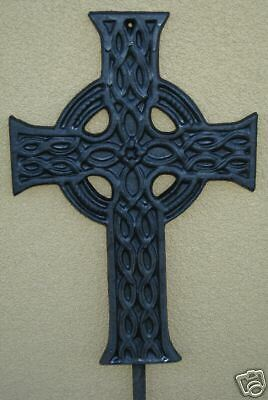 "27"" Cross Iron Garden Stake Celtic Metal Yard Plant Made In Usa Christian Ps002"