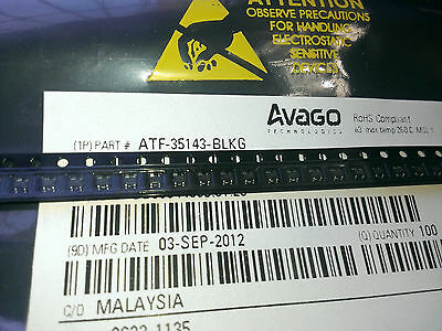 [10 pcs] Genuine AVAGO ATF35143 Low Noise pHEMT, NF=0.4dB(f=1.9GHz) case SOT343