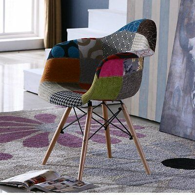 Vintage Fabric Chair Patchwork Armchair Furniture Modern Lounge Seat Retro Legs