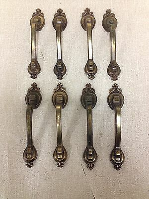 """Lot of 8 Brass Tone Handles 3"""", Drawer Pulls Cabinet Furniture, Victorian Look"""