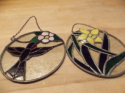Set of 2 Stained Glass Window Hangings