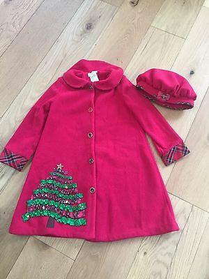 Bonnie Jean Red Festive Christmas Tree Coat & Matching Hat 6X 6-7 Yrs Jacket