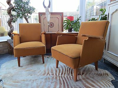 A Pair Of Vintage East German Lounge Arm Chairs C1960 Original Condition N16-10