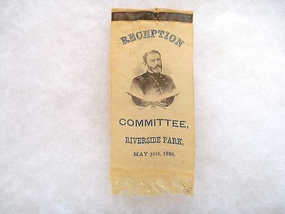 PRESIDENT GRANT RECEPTION COMMITTEE RIBBON, RIVERSIDE PARK, MAY 31st, 1886