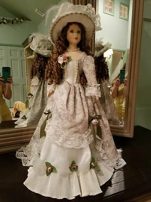 """Decorative 21"""" victorian porcelain doll with stand antique vintage"""