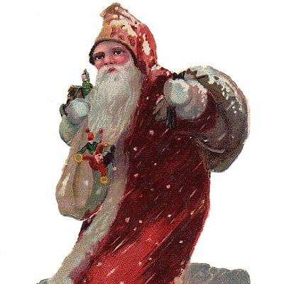Antique Vintage SANTA CLAUS IN SNOWFALL - Christmas die cut paper scrap 1930s