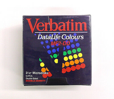 "Box of 10 Verbatim Datalife Colours MF2-DD Floppy Disk Colorati 3 1/2"" 2S 2D"