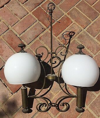 Antique Brass Wrought Iron Chandelier Bronze Unique Vintage Two Glass Globes
