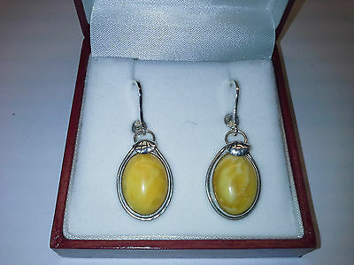 Natural, Baltic Amber  Earrings Set In 925 Silver, Vintage,1960-S, Soviet, Ussr
