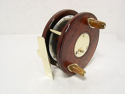 "Vintage Antique Wooden & Brass David Slater 3 ½"" Combination Fishing Reel"