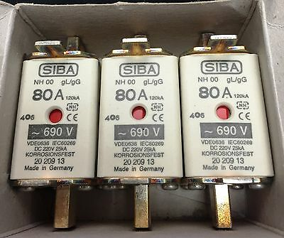 SIBA fuse - NH00 - 80amp 2020913  20 209 13 NEW Made in Germany - box of 3