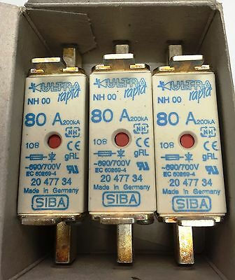 SIBA fuse - NH00 - 80amp 2047734  20 477 34 NEW Made in Germany - Box of 3