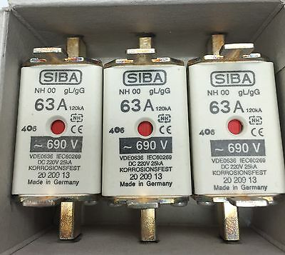 SIBA fuse - NH00 - 63amp 2020913  20 209 13 NEW Made in Germany Box of 3