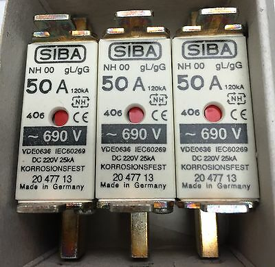 SIBA fuse - NH00 - 50amp 2047713  20 477 13 NEW Made in Germany - Box of 3