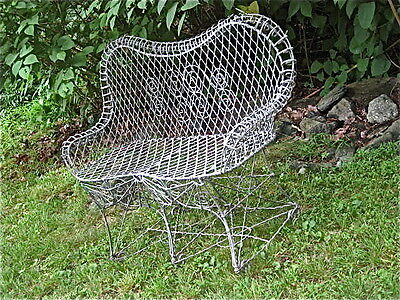 victorian wire garden bench, sturdy and useable, as found!