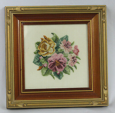 Vintage Antique Framed Finished Petit Point Purple Yellow Floral Roses Bouquet