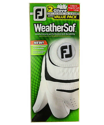 Footjoy Weather-Sof Glove White - MLH - Large - **2 PACK VALUE**