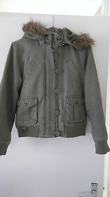 Girls Zip and Button Up Removeable Hooded Jacket From Tammy Size 152cm