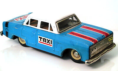 Vintage Battery operated  Taxi Cab Toy Metal Car Tin  Red China 1970's