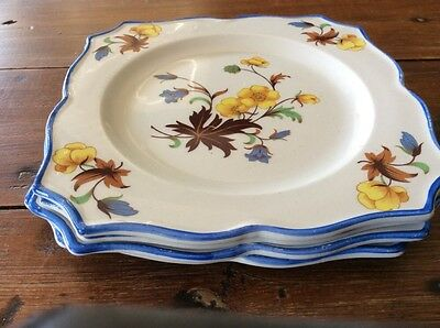 4 X Coronation Ware England Side Cake Plate Entree Floral Collectable Vintage