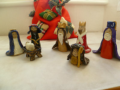 Vintage Nativity Scene  In Pottery 8 Pieces
