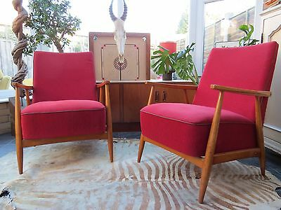 Pair Of Red East German / Danish Style Cocktail Lounge Armchairs C1970 N16-13