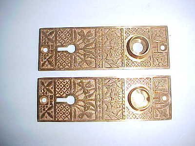 old Art Nouveau Antique Victorian Door Plate Copper Metal Skeleton Brass Key
