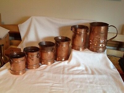 Rare Artisan Antique French Copper Jug & 5 Copper Pots, Very Old And Rustic