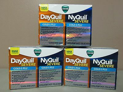3 Vicks Dayquil Nyquil Cold & Flu Severe 48 caplets each Exp 12/16+ DE 7527