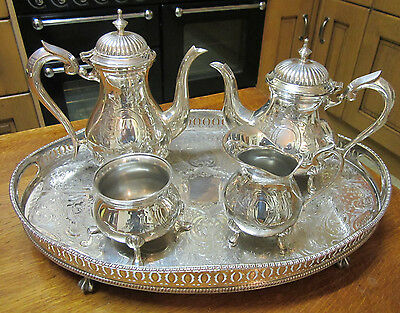 Old Antique Victorian Style Silver Plate Set Teapot Coffee Pot Sugar Bowl Jug