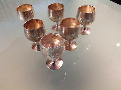 Silver Plated Sherry Goblets In Case