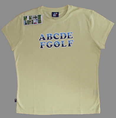 """Fantastic Ladies Funny Dressed To A Tee Golf T Shirt """"abcdefgolf"""" With Golf Tee!"""