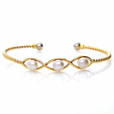 UK Hallmarked Solid 18ct Yellow Gold Freshwater Pearl Bangle Bracelet Handmade
