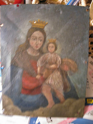 Antique Retablo On Tin With The Image Of Our Lady Of Refuge 6'' By 8''