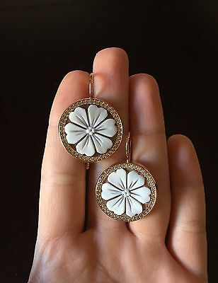 Cameo earrings silver 925 Rosè sardonic flower woman CZ made in Italy