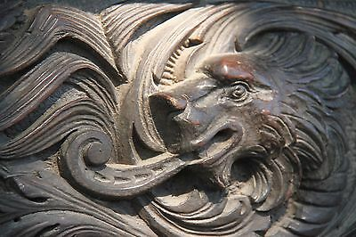 19C English Carved Oak Figural Jester Griffin/Gargoyle/Dragon Fireplace Mantel