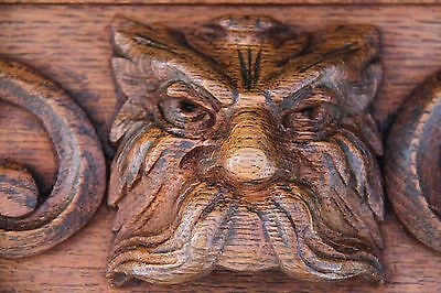 Matched Pair 19C French Carved Oak Gargoyle Mask Drawer Front Panels