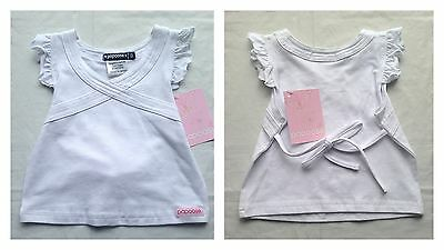 New Papoose Girls White Summer Top W/ Tie Up Back - Size 0  **freepost**