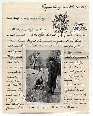German Ww2 Soldiers Letter Sent By Girlfriend+Photo Christmas Time  Dec 26 1942
