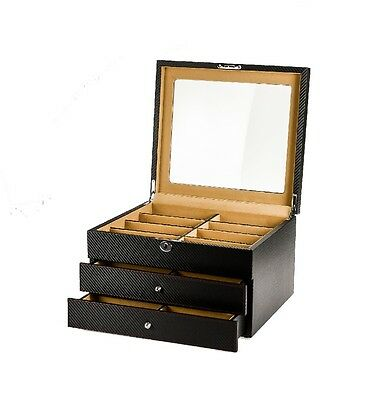 Luxury sunglasses storage box black carbon fiber for 24 eyeglass display case