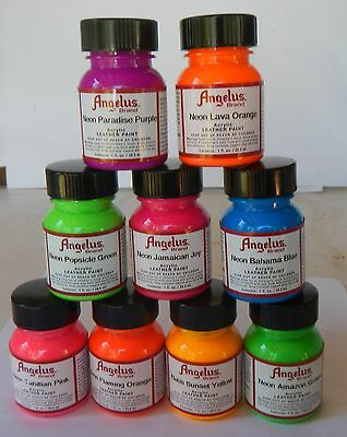 Angelus NEON Leather Acrylic Paint 29.5ml Assorted Colours
