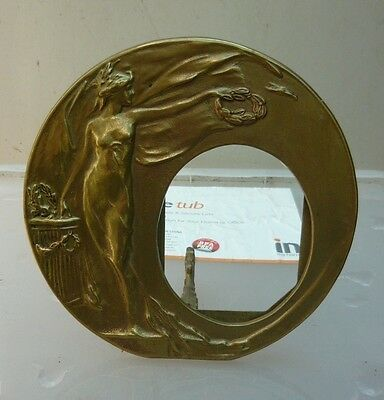 Vintage circular solid brass art deco picture frame in very good condition