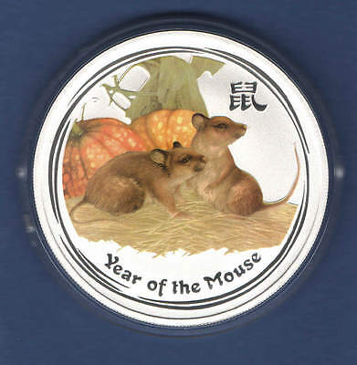 """2008 AUSTRALIA Silver """"YEAR OF THE MOUSE"""" (RAT) *COLORIZED* 1 oz. BU lunar Coin"""