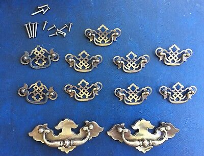 Vintage Chippendale 11 Pieces  Batwing Drawer Pulls Cabinet  Hardware Check Pics