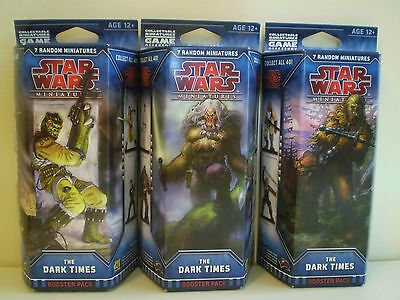 Star Wars Miniatures THE DARK TIMES x 3 Booster Packs NEW and SEALED